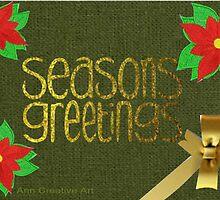 Poinsettias with Season Greetings by Ann12art