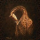 Love's Golden Touch - Giraffe Painting by csforest