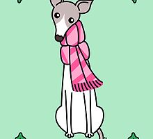 Christmas Greyhound - Gray and White by zoel