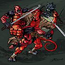 Deadpool VS Hellboy by JohnnyGolden