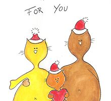 Mouse n Cat A Christmas Hug for You by FionaHill