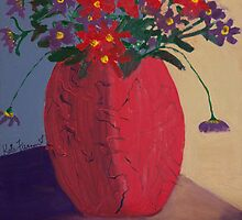 Red Vase of Flowers by kreativekate