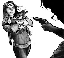 Wonder Woman Deflecting Bullets by Laura Guzzo