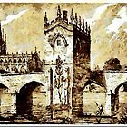 The Chapel of Our Lady, Rotherham Bridge, Yorkshire early 19th century by Dennis Melling