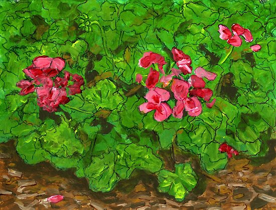 October Geraniums by bernzweig