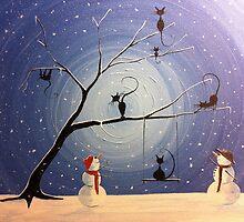 Cats in snow by Michael  Prosper