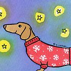 Dachshund Puppy Dog Waiting for Snow by zoel