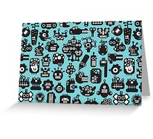 Robots faces blue. Greeting Card