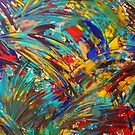 FIREWORKS IN COLOR - Bold Abstract Acrylic Painting Lovely Masculine Colorful Splash Pattern Gift by EbiEmporium