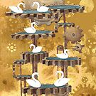 Seven Swans A Swimming, twelve days of christmas by CogsandCards