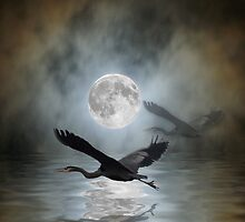Heron Moon Fantasy iPhone Case by Val  Brackenridge