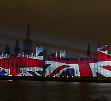Parliament projection UNION JACK by Tim Healy