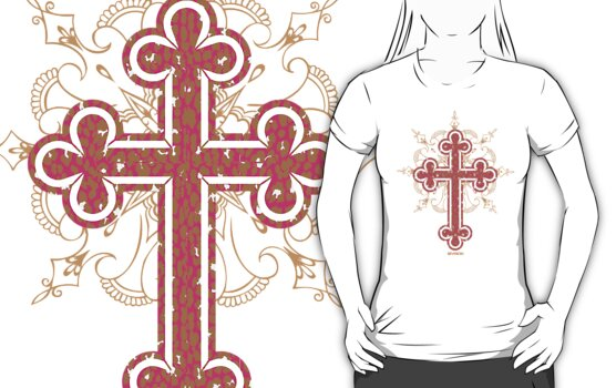 Leopard Pink Cross Womans Tee :D by MelanieAndujar