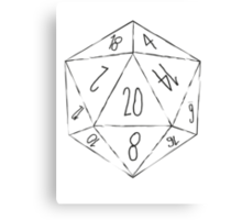 Messy D20 Canvas Print