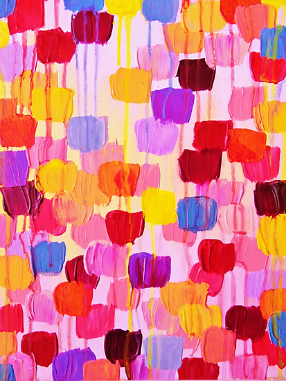 DOTTY in Pink - October Special Revisited Bold Colorful Polka Dots Original Abstract Painting by EbiEmporium