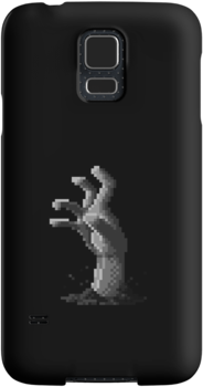 Zombie Grasp Pixels Black and White by Ollie Chanter