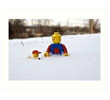 Father/Son Snowy Hike Art Print