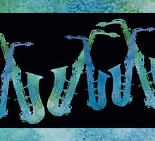 Cool Blue Saxy Band by PaintboxCollage