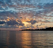 Sunset on water, Vanuatu, South Pacific Ocean by Sharpeyeimages
