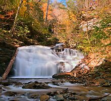 Fall's Beautiful Colors Surround Mohican Falls by Gene Walls