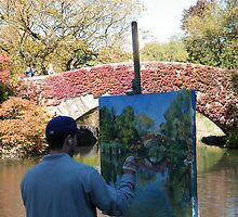 An Artist, A Painting, A Bridge, Central Park, New York  by lenspiro