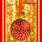 Merry Christmas Bauble on Gold With Red and Gold Border by taiche