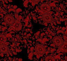 chrysanthemums red on black by Bel Menpes