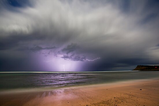 Moonlight storm at Lennox Head, NSW by Dave Ellem