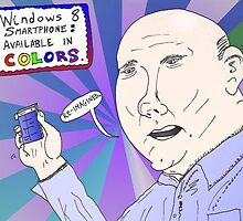 Steve Ballmer caricature with Windows 8 Smartphone by Binary-Options