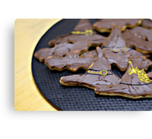 witch's hats and bats cookies ready to eat... Canvas Print