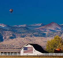 Hot Air Balloon With Flag Barn God Bless the USA  by Bo Insogna