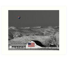 Hot Air Balloon With USA Flag Barn God Bless the USA BWSC Art Print