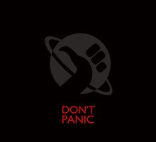 Hitchhicker Thumb Don't Panic - Red by sanseref