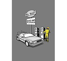 Back to the Future Delorean 'Hill Valley Gas Station' Photographic Print