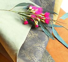 Table Runner Pink Gum Blossom detail by Jenny Hogben