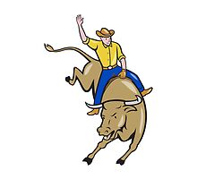 Rodeo Cowboy Bull Riding Cartoon by patrimonio