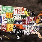 License Plate Map of the United States of America - Warm Colors / Black Edition by designturnpike