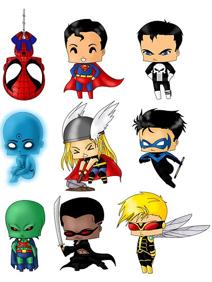 Chibi Marvel Heroes http://www.redbubble.com/people/artwaste/works/9538235-chibi-heroes-3