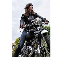 Girl on a Motorcycle Photographic Print