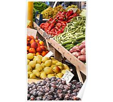 Fresh Organic Fruits and Vegetables At A Street Market Poster