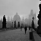 Fog on Charles Bridge, Prague by Jennifer Lyn King