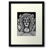 Spartan Lion black and white pen ink surreal drawing Framed Print