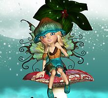 Cute Fantasy Fairy Elf Sitting On A Mushroom Birthday Greeting Card by Moonlake