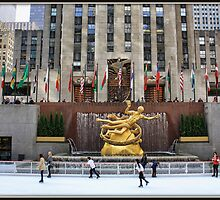 Skating at the Rockefeller Plaza by Mikell Herrick