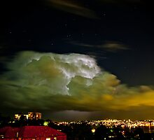 Lightning storm within cloud, over Sydney city, Australia  by Sharpeyeimages