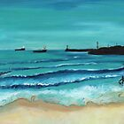 Aberdeen Harbour from the Beach by ALICE STUART