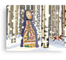 Winter in the birch woods Canvas Print