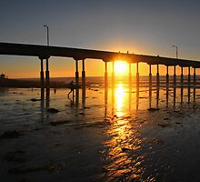 Sunset Through the Pier by Barbara  Brown