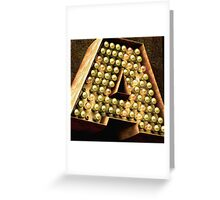 The Letter A in Light Bulbs Greeting Card