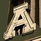 The Letter A in Neon Light by Anthony Ross